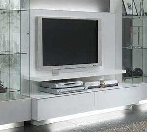 Meuble Tv Blanc Laqué : meuble tv plasma lux laque blanc blanc ~ Teatrodelosmanantiales.com Idées de Décoration