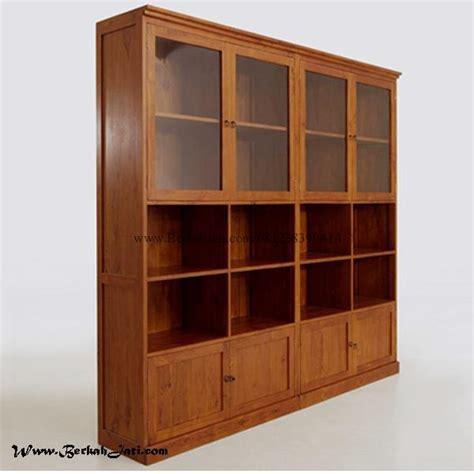 lemari buku kantor model minimalis kayu jati berkah jati