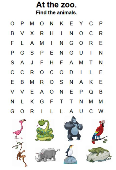 zoo wordsearch interactive worksheet
