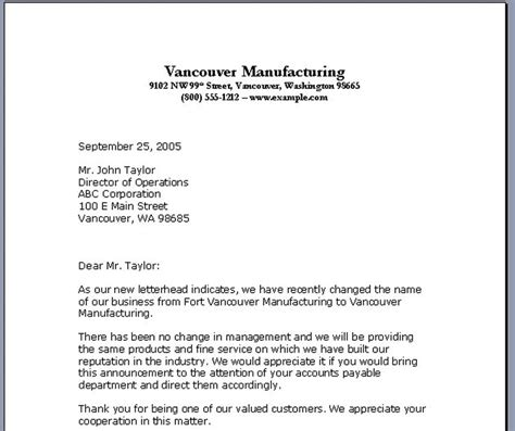 business letter format date placement sample business letter