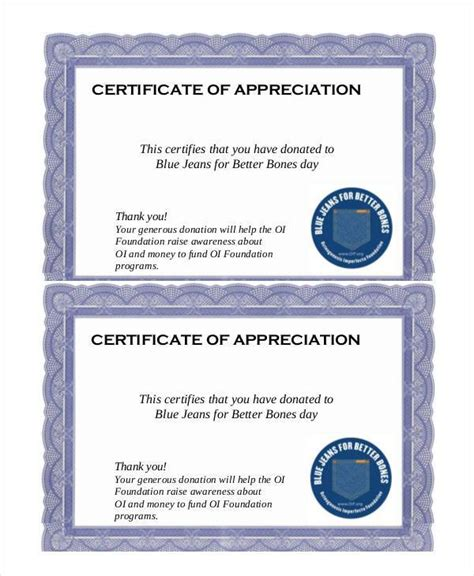 Certificate Of Appreciation For Donation Template by 27 Certificate Of Appreciation Templates Pdf Doc