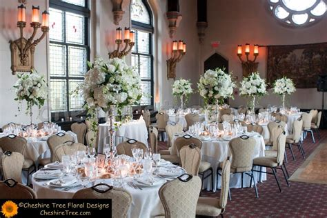 White Hydrangea Wedding Centerpiece View Of The Tall