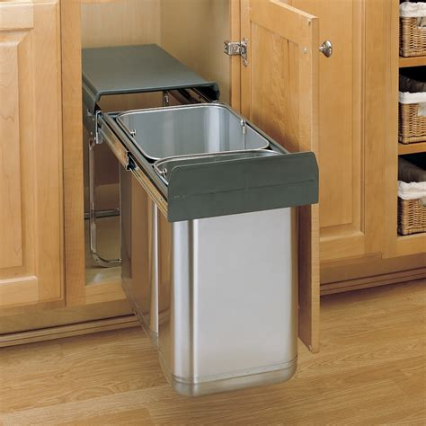 kitchen cabinet trash pull out kitchen rev a shelf trash to clear your kitchen solution