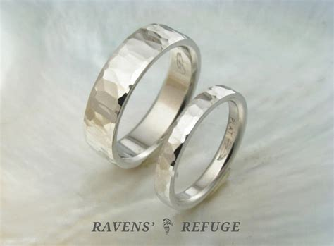 unique hammered wedding bands matching platinum rings