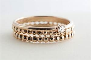 stackable gold wedding bands with single diamond onewedcom With stackable wedding rings