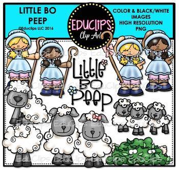 bo peep nursery rhyme clip art bundle educlips
