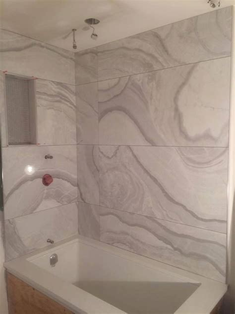 beautiful large format tile bathtub surround bathrooms