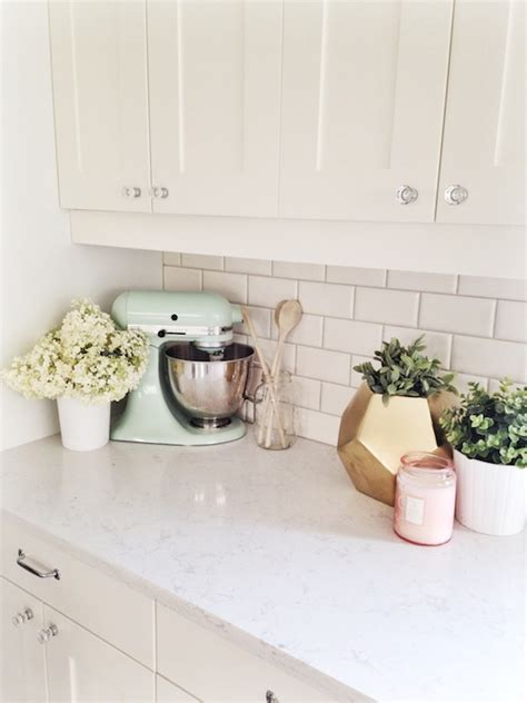 Ideas To Decorate Kitchen Countertops - white quartz countertops transitional kitchen oh my