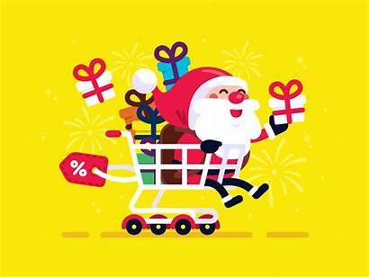 Santa Shopping Claus Dribbble Friday Manu Discount
