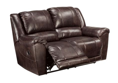 Top Grain Leather Loveseat by Yancy Reclining Loveseat In Walnut Top Grain