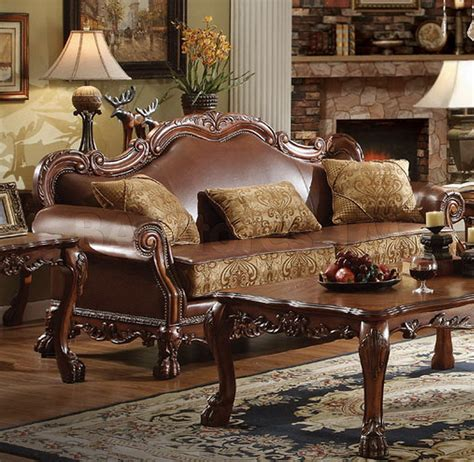 dresden 3 pc leather and chenille sofa set living room