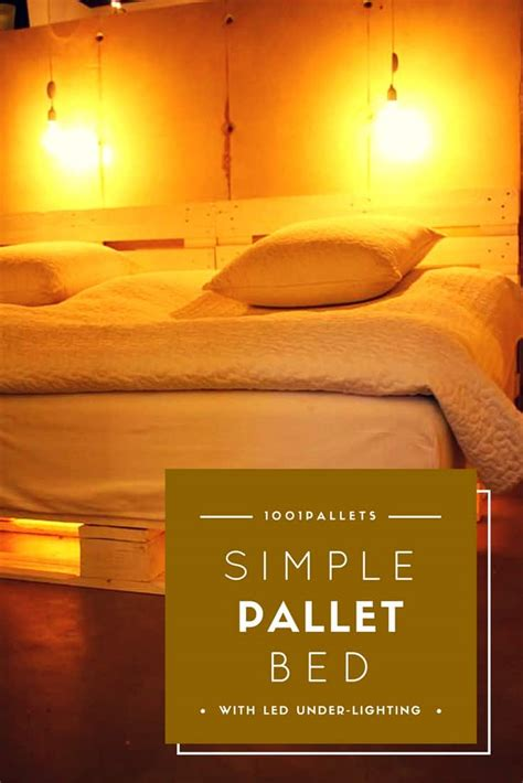 simple pallet bed  led  lighting  pallets
