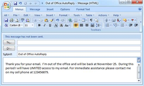 outlook message absence bureau set out of office auto reply in outlook 2003 2007 2010
