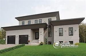 plan de maison contemporaine no 3457 par dessins drummond With plan facade maison moderne