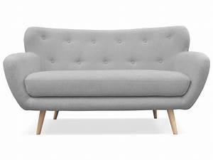 Canapé fixe 2 places en tissu OSLO coloris gris clair Vente de Canapé droit Conforama