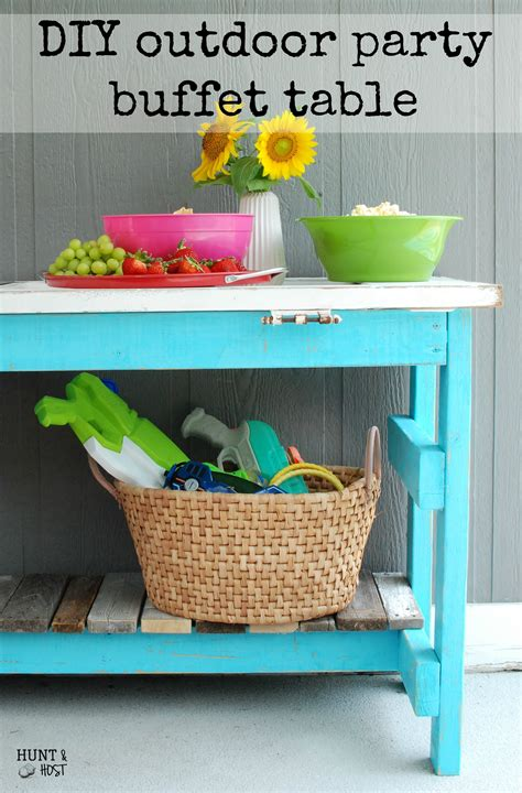 Outdoor Party Buffet Table in Pool Blue - Hunt and Host