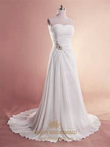 white chiffon beach wedding dresses strapless chiffon With white chiffon wedding dress