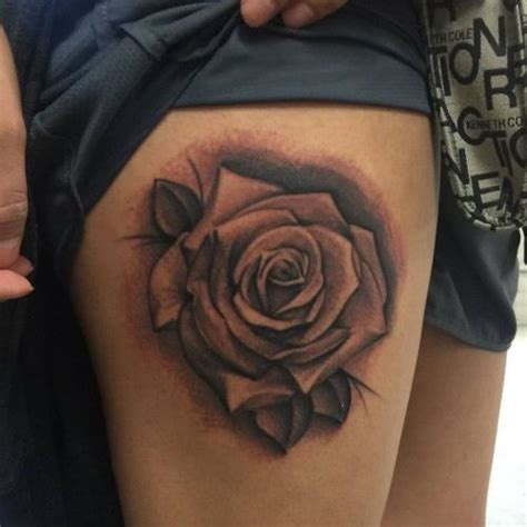 hot rose thigh tattoo design ideas