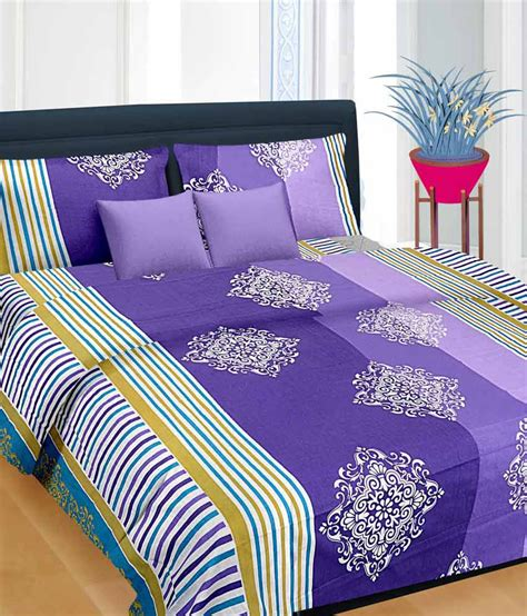 cortina purple cotton bedsheet with 2 pillow cover