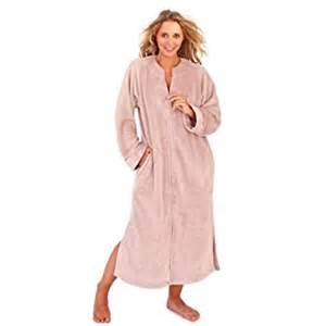Robes De Chambre Femme Hiver by Ladies Taupe Colour Corel Fleece Long Robe With Full Zip