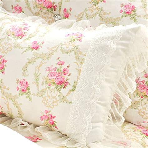 lelva bedding set lace ruffle duvet cover princess bedding set vintage floral print duvet