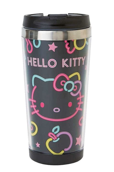 Katzwhiskas Hello Kitty Stainless Steel Travel Mug: neon
