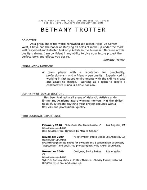 How Do I Make Up A Resume by Freelance Makeup Artist Resume Sle Www Proteckmachinery