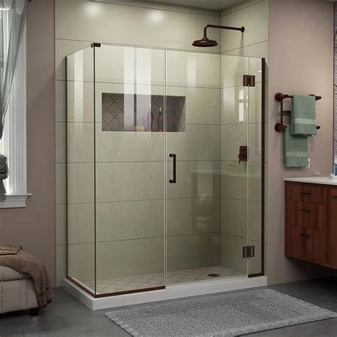 shop dreamline unidoor x 48 in to 48 in w frameless rubbed bronze hinged shower door at