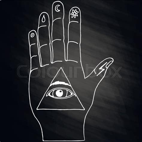 Illuminati Text Symbol by Sunburst Ornaments And All Seeing Eye Symbol