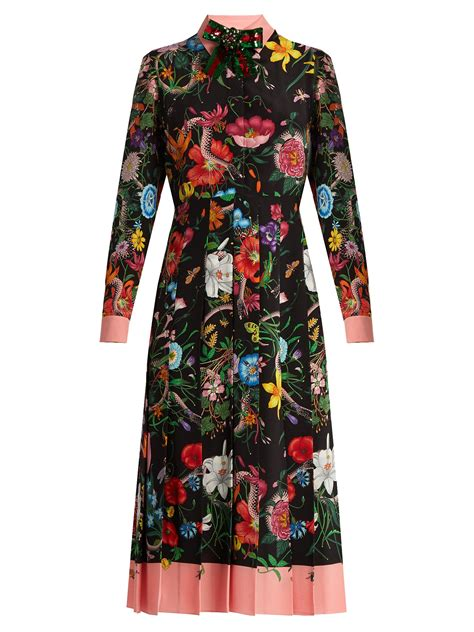 floral midi pleated skirt gucci floral and snake print silk midi dress in black lyst