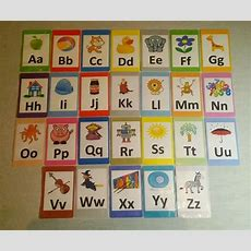 Az Alphabet Flash Cards Set  Educational Learning Picture & Letter Card Pack Ebay