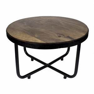 Suri modern industrial round coffee table in dark mango for Mango wood coffee table round