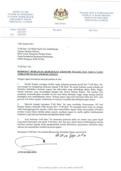 contoh surat rasmi kepada menteri besar selangor mi1 surat tawaran debat terbuka kepada perdana menteri