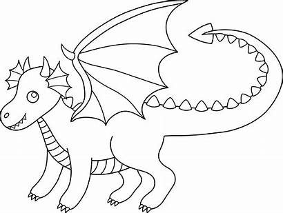 Dragon Clip Clipart Lineart Coloring Line Pages