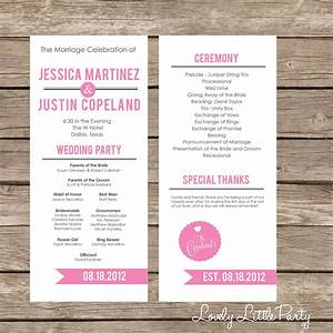 Simple ultra modern wedding program diy printable lovely for Modern wedding program templates