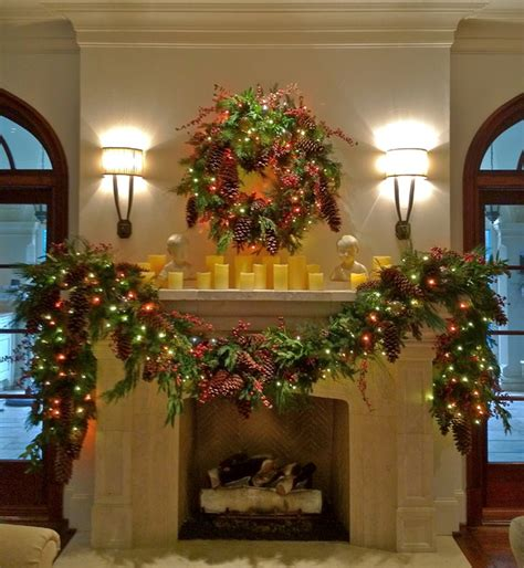 mantle garland with lights holiday decor holiday mantle garland traditional
