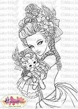 Marie Antoinette Coloring Pages Digital Cat Adult Wig Stamp Sato Aurora Wings Holding Wiuff Mitzi Fantasy Crafts Cards Line Stamps sketch template