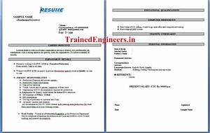 resume format for mechanical engineer with 1 year With resume samples for freshers mechanical engineers free download