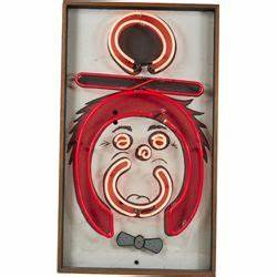 Figural Clown Face Neon Wall Sculpture In Wood Frame