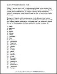 Negative Calorie Food List Printable