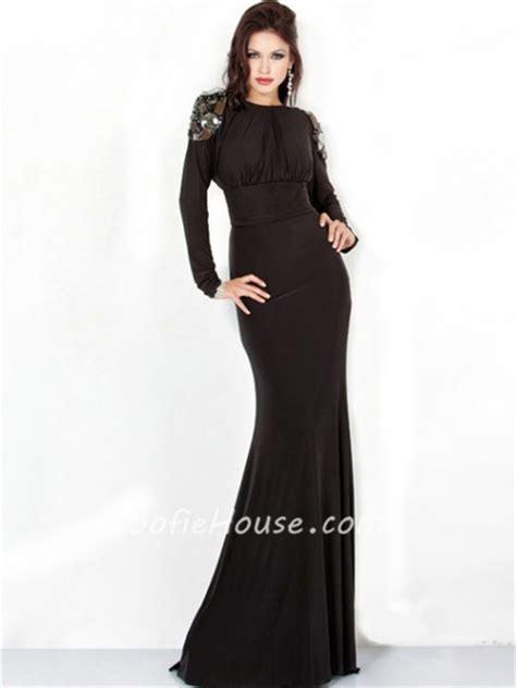 sexy sheath slim backless long black chiffon evening prom