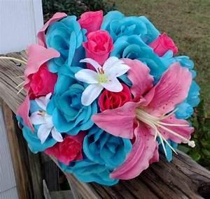 Malibu Blue Hot Pink Rose Coral Lily Wedding Bouquet ...