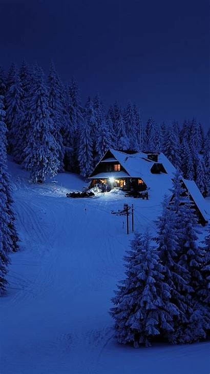 Winter Snow Night Cabin Trees Wallpapers Layer