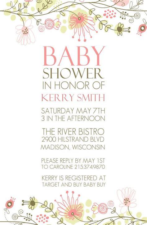 spring floral border baby shower invitation  purpletrail