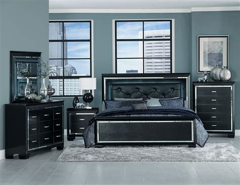 Homelegance Allura Bedroom Set with LED Lighting Black