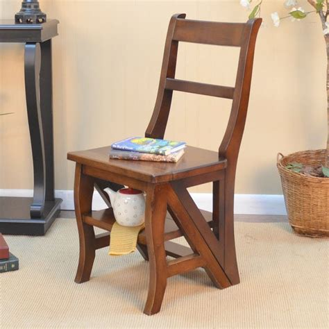 folding wood library ladder chair  shipping today