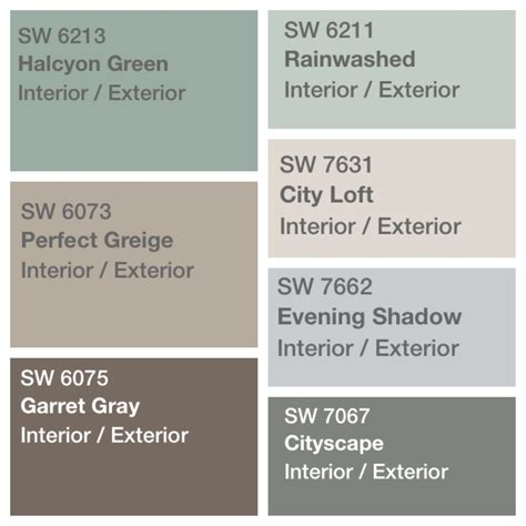 palette decided for house paint sherwin williams
