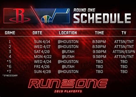 nba playoffs rockets   schedule released