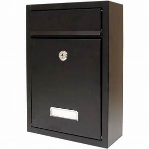 Hardcastle lockable black wall mounted letter mail box for Wall mounted letter box
