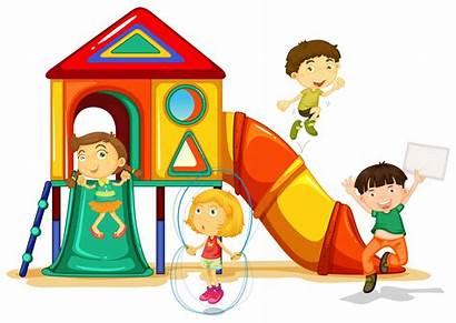Playground Playing Clipart Children Clip Slide Illustration